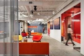 """""""羚羊谷""""式办公室设计,浓烈红色闪耀空间,极具视觉冲击力"""